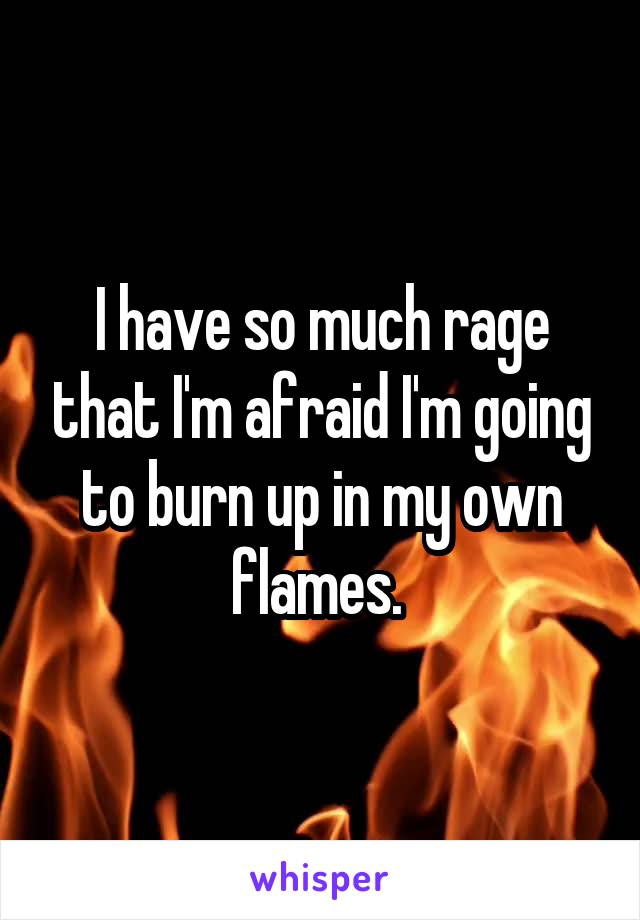 I have so much rage that I'm afraid I'm going to burn up in my own flames.