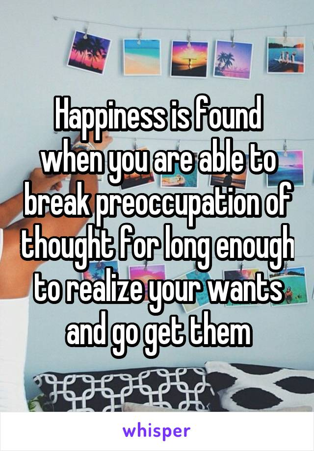 Happiness is found when you are able to break preoccupation of thought for long enough to realize your wants and go get them