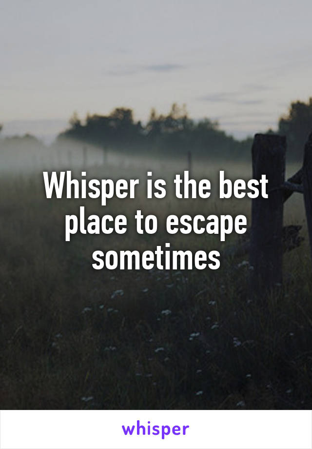 Whisper is the best place to escape sometimes