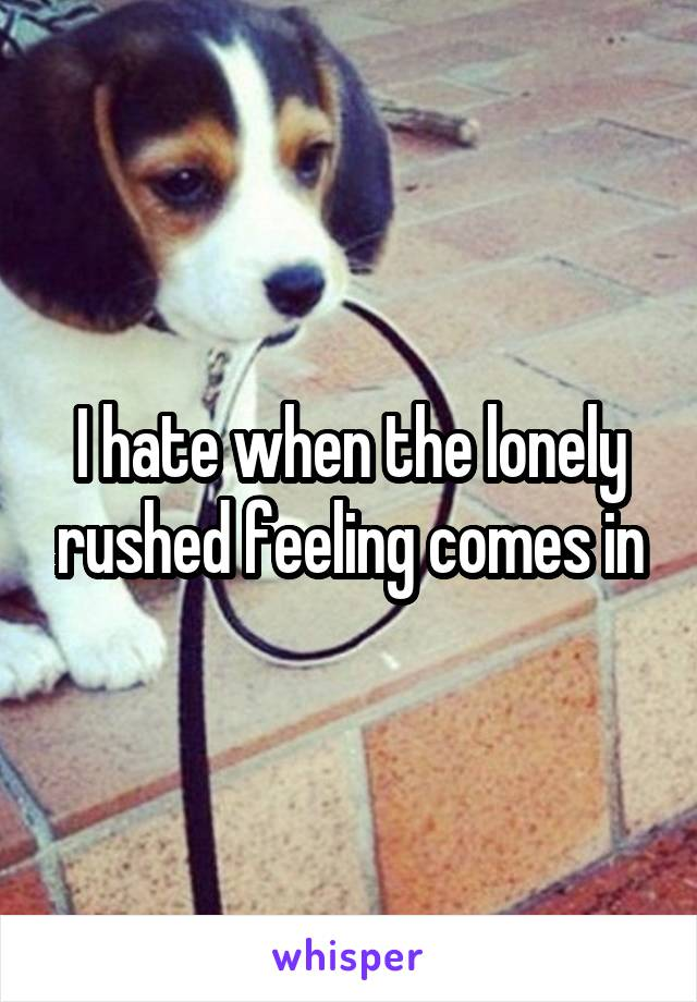I hate when the lonely rushed feeling comes in