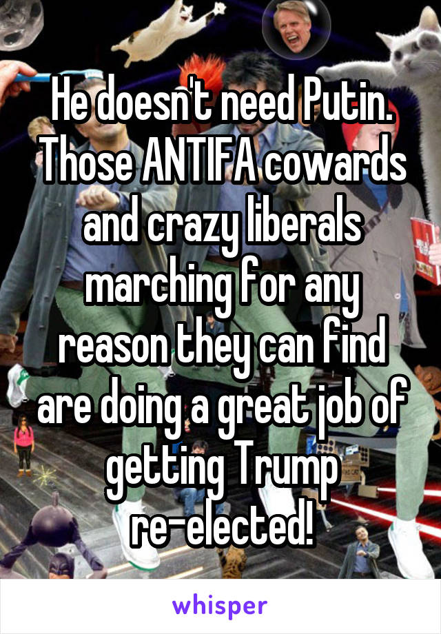 He doesn't need Putin. Those ANTIFA cowards and crazy liberals marching for any reason they can find are doing a great job of getting Trump re-elected!