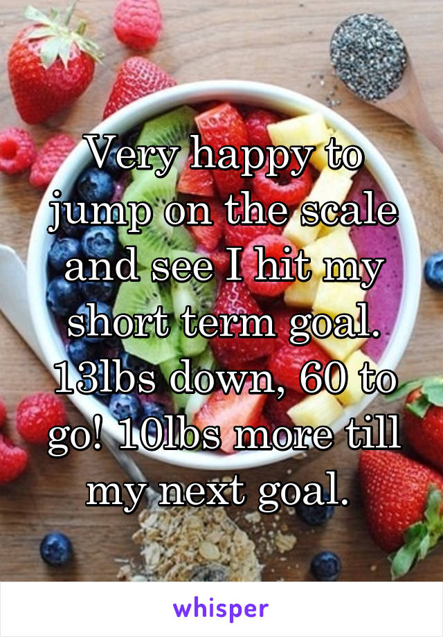 Very happy to jump on the scale and see I hit my short term goal. 13lbs down, 60 to go! 10lbs more till my next goal.