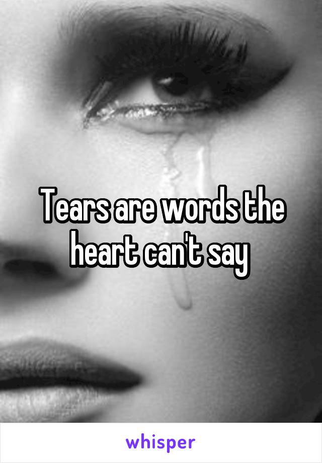 Tears are words the heart can't say