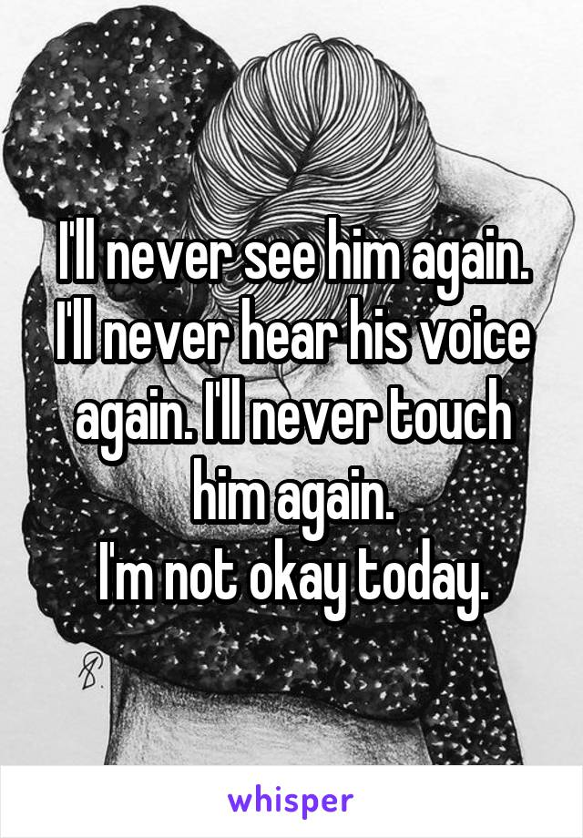 I'll never see him again. I'll never hear his voice again. I'll never touch him again. I'm not okay today.