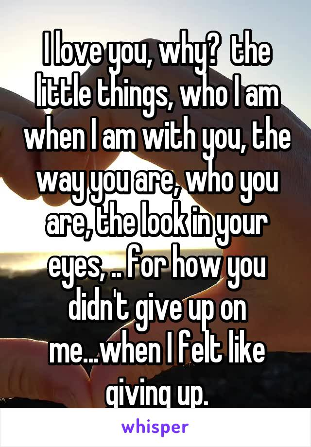 I love you, why?  the little things, who I am when I am with you, the way you are, who you are, the look in your eyes, .. for how you didn't give up on me...when I felt like giving up.