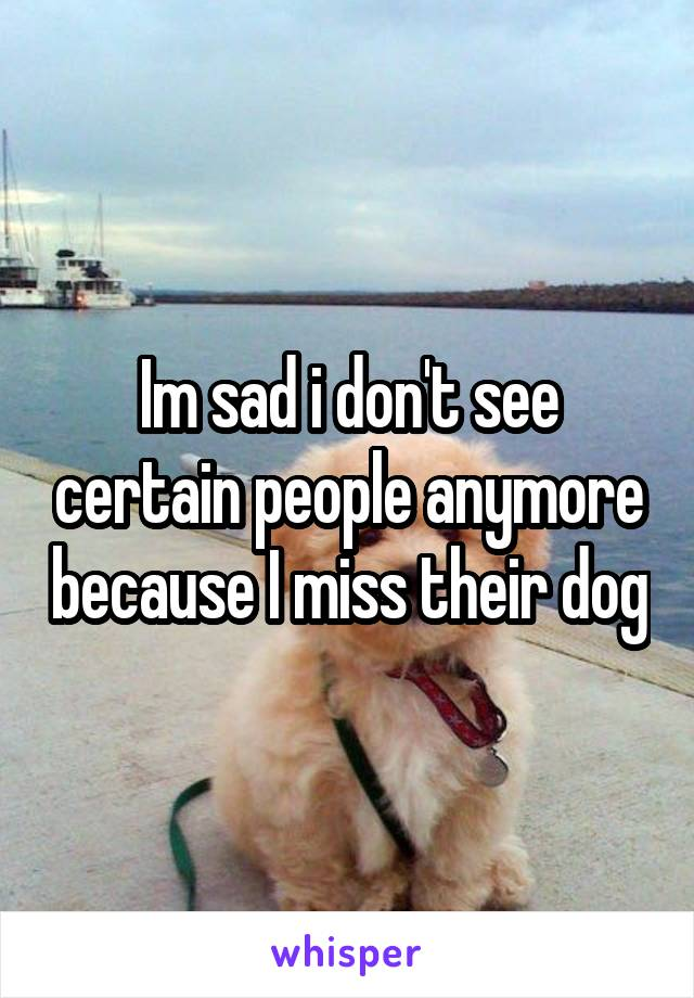 Im sad i don't see certain people anymore because I miss their dog