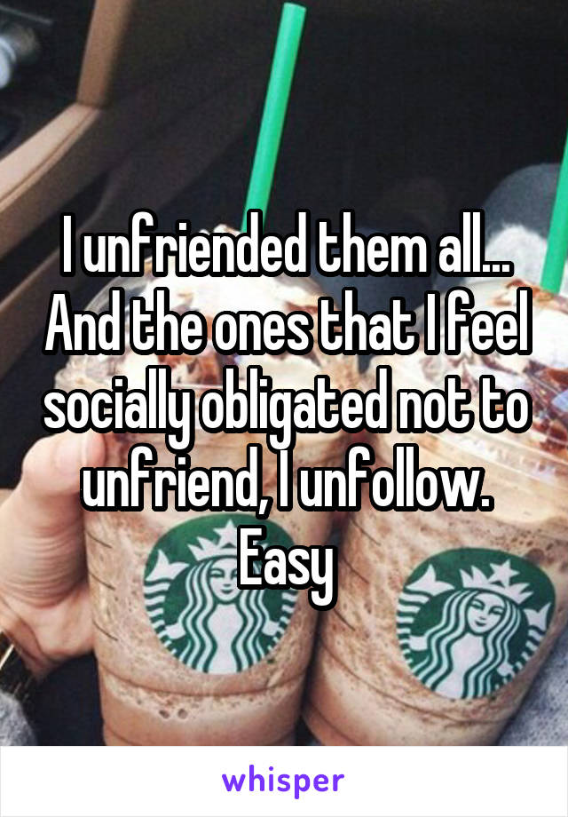 I unfriended them all... And the ones that I feel socially obligated not to unfriend, I unfollow. Easy