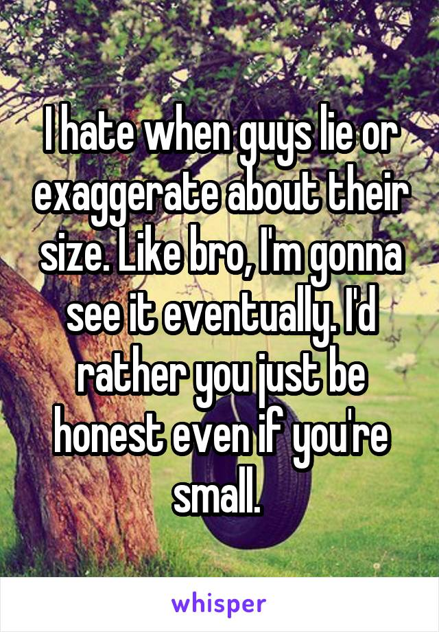 I hate when guys lie or exaggerate about their size. Like bro, I'm gonna see it eventually. I'd rather you just be honest even if you're small.
