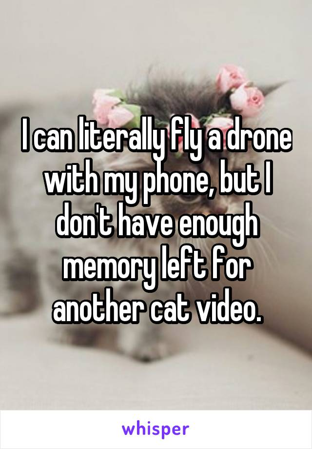 I can literally fly a drone with my phone, but I don't have enough memory left for another cat video.
