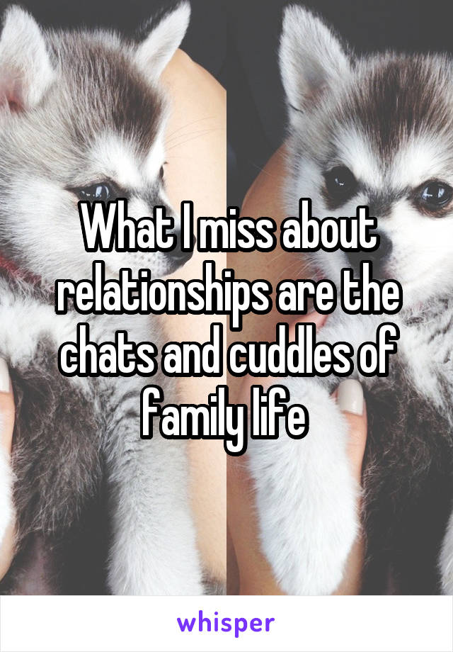 What I miss about relationships are the chats and cuddles of family life