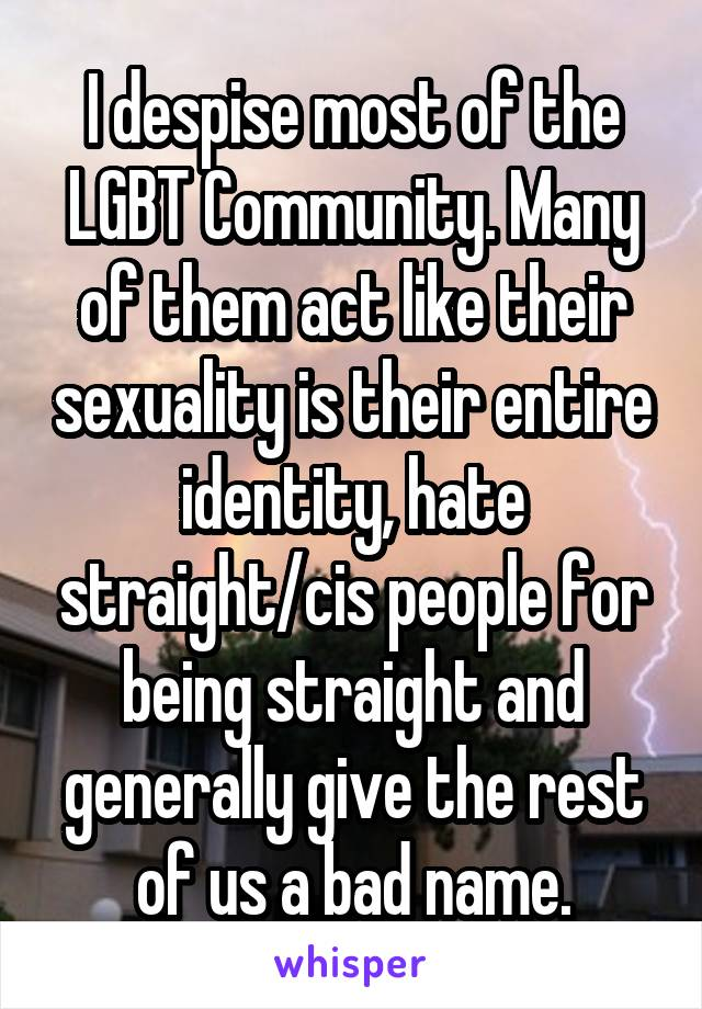 I despise most of the LGBT Community. Many of them act like their sexuality is their entire identity, hate straight/cis people for being straight and generally give the rest of us a bad name.