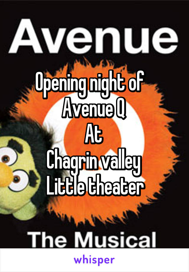 Opening night of    Avenue Q  At  Chagrin valley   Little theater