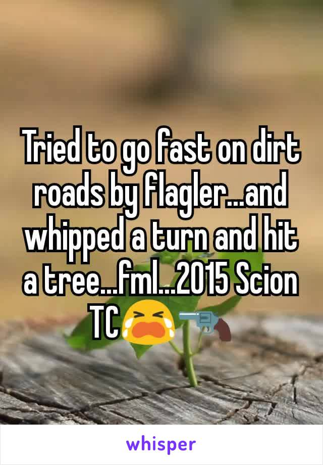 Tried to go fast on dirt roads by flagler...and whipped a turn and hit a tree...fml...2015 Scion TC😭🔫