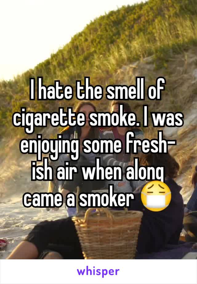 I hate the smell of cigarette smoke. I was enjoying some fresh-ish air when along came a smoker 😷