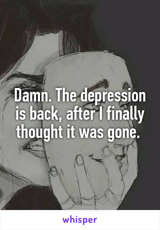 Damn. The depression is back, after I finally thought it was gone.