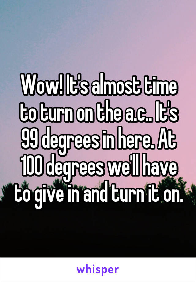 Wow! It's almost time to turn on the a.c.. It's 99 degrees in here. At 100 degrees we'll have to give in and turn it on.