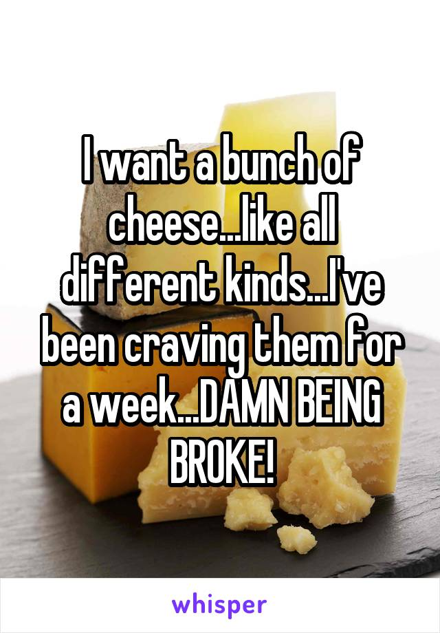 I want a bunch of cheese...like all different kinds...I've been craving them for a week...DAMN BEING BROKE!