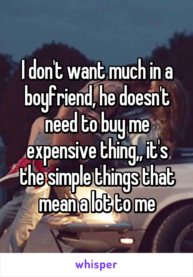 I don't want much in a boyfriend, he doesn't need to buy me expensive thing,, it's the simple things that mean a lot to me