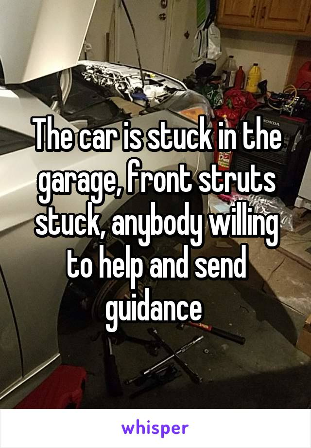 The car is stuck in the garage, front struts stuck, anybody willing to help and send guidance
