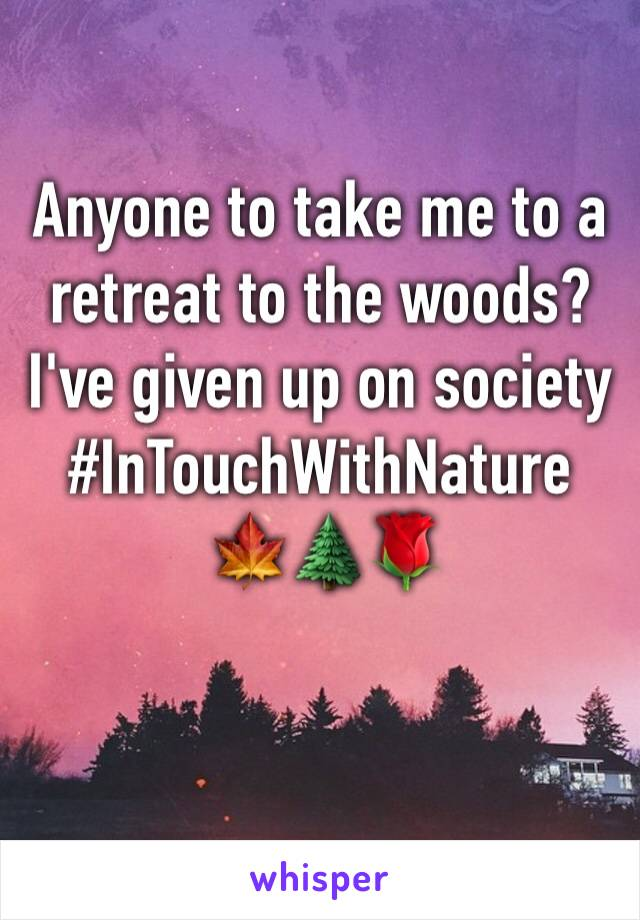 Anyone to take me to a retreat to the woods? I've given up on society  #InTouchWithNature  🍁🌲🌹