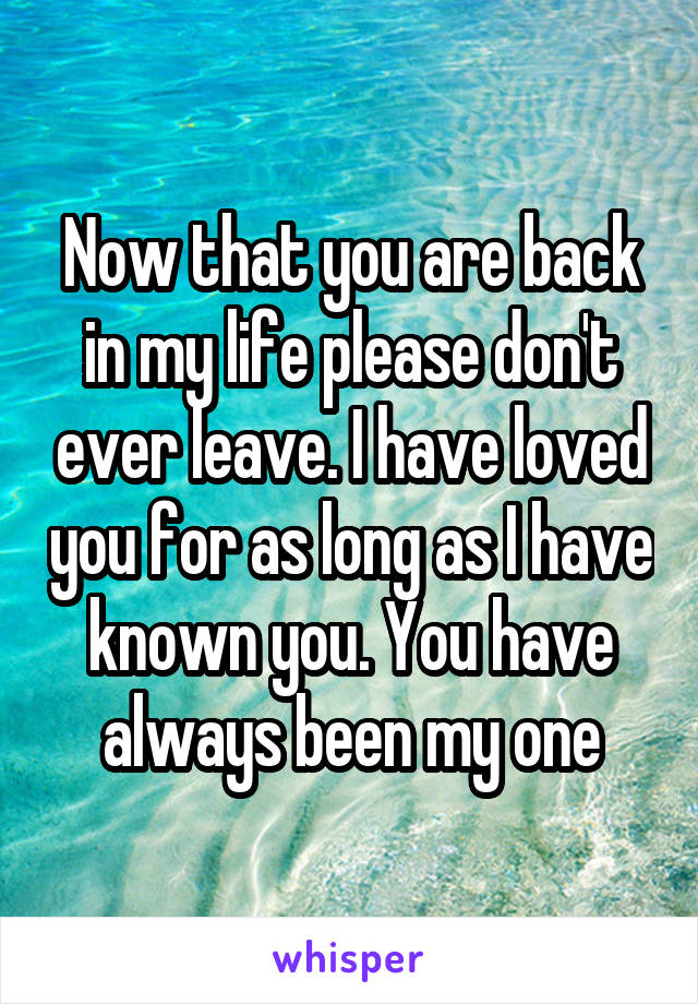Now that you are back in my life please don't ever leave. I have loved you for as long as I have known you. You have always been my one