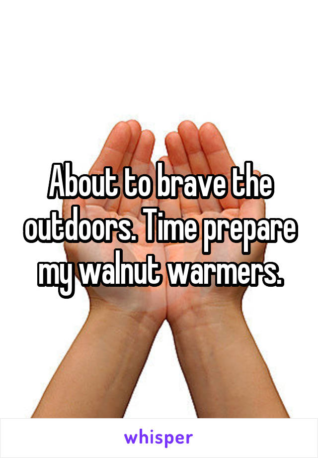 About to brave the outdoors. Time prepare my walnut warmers.