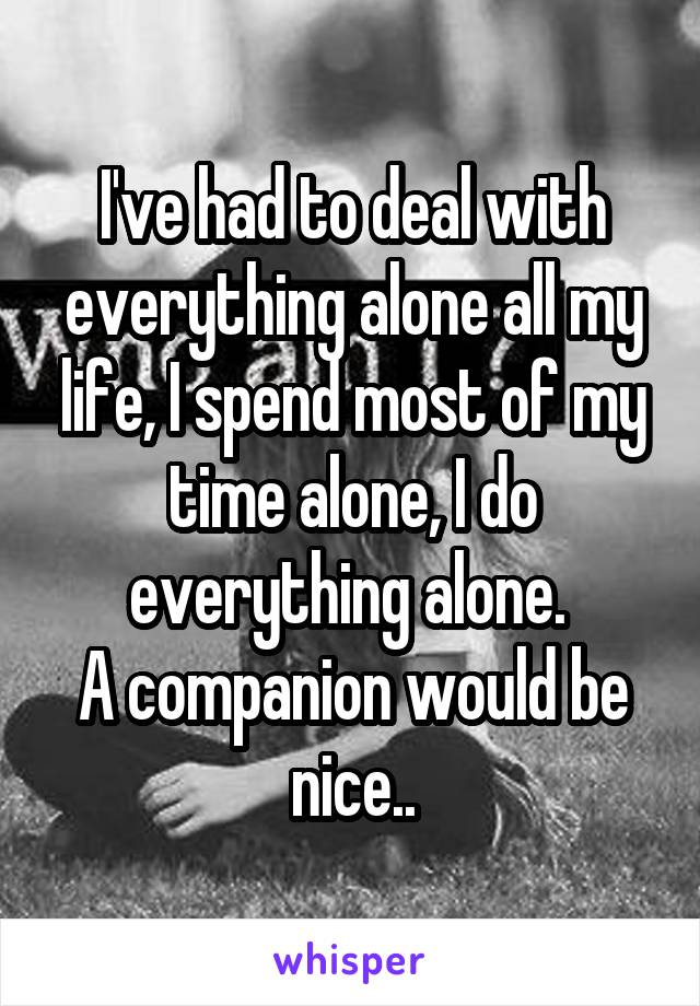 I've had to deal with everything alone all my life, I spend most of my time alone, I do everything alone.  A companion would be nice..