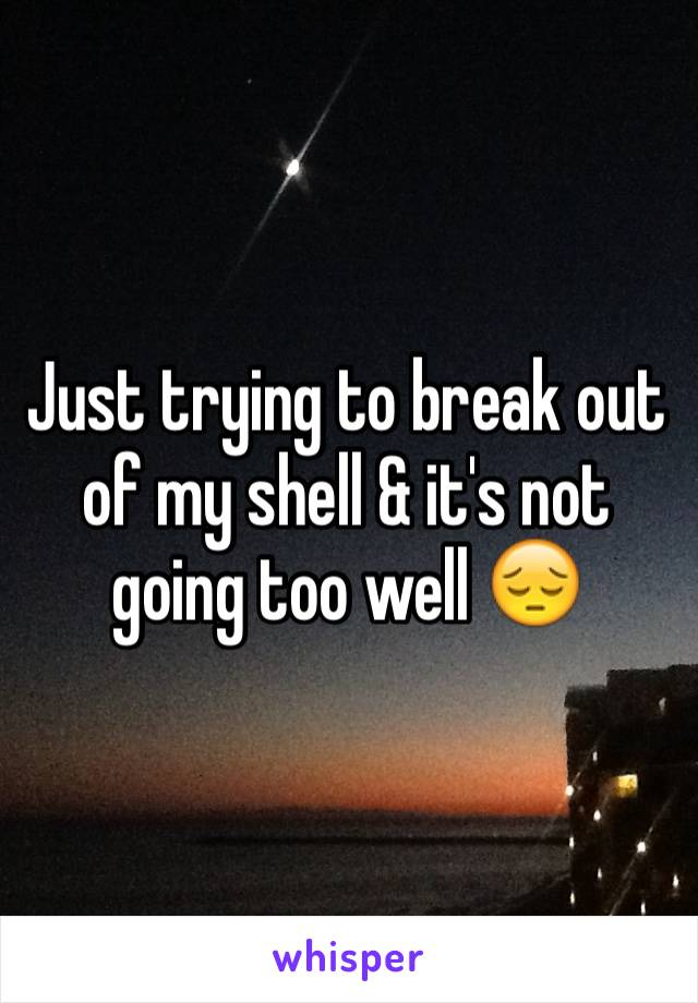 Just trying to break out of my shell & it's not going too well 😔