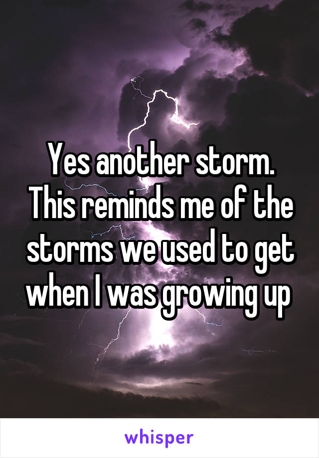 Yes another storm. This reminds me of the storms we used to get when I was growing up
