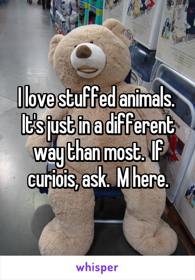 I love stuffed animals.  It's just in a different way than most.  If curiois, ask.  M here.