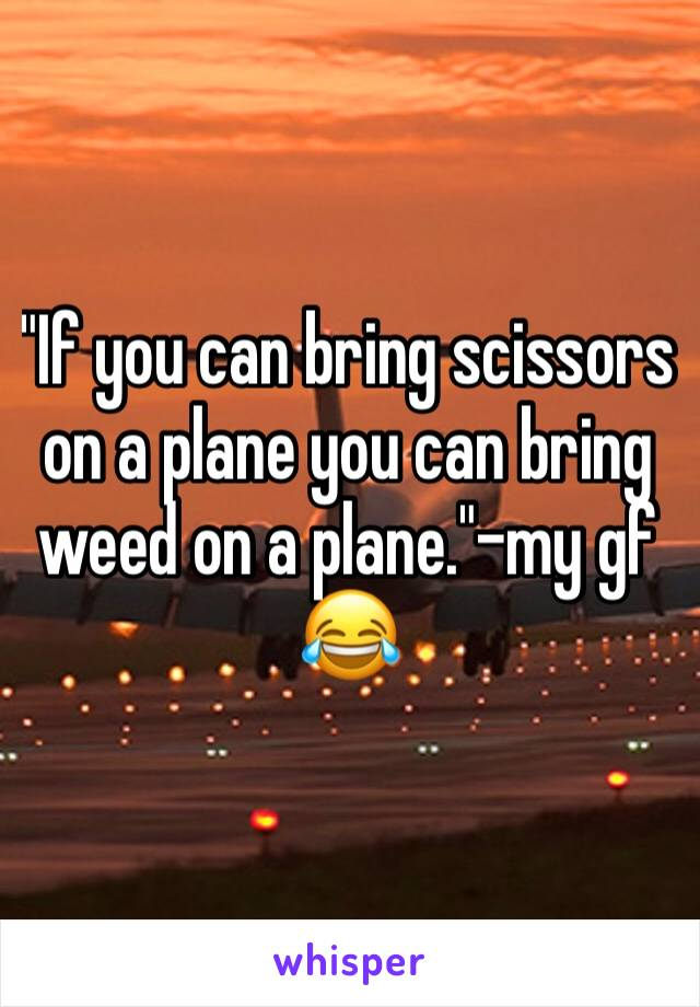 """If you can bring scissors on a plane you can bring weed on a plane.""-my gf 😂"