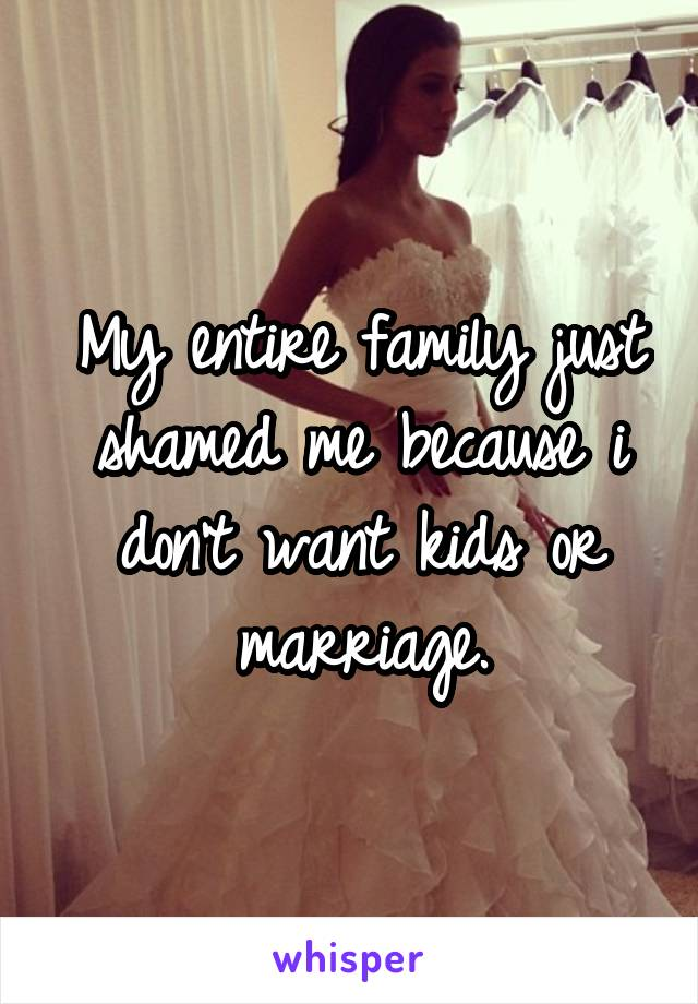 My entire family just shamed me because i don't want kids or marriage.