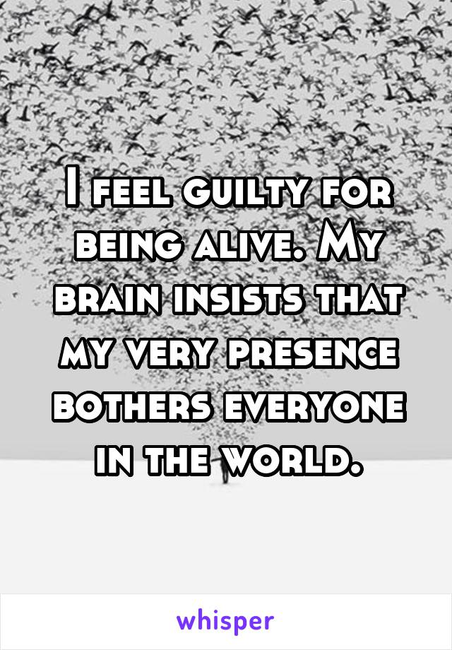 I feel guilty for being alive. My brain insists that my very presence bothers everyone in the world.