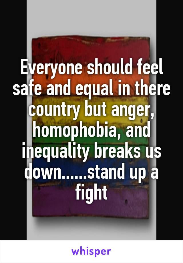 Everyone should feel safe and equal in there country but anger, homophobia, and inequality breaks us down......stand up a fight