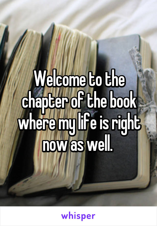 Welcome to the chapter of the book where my life is right now as well.