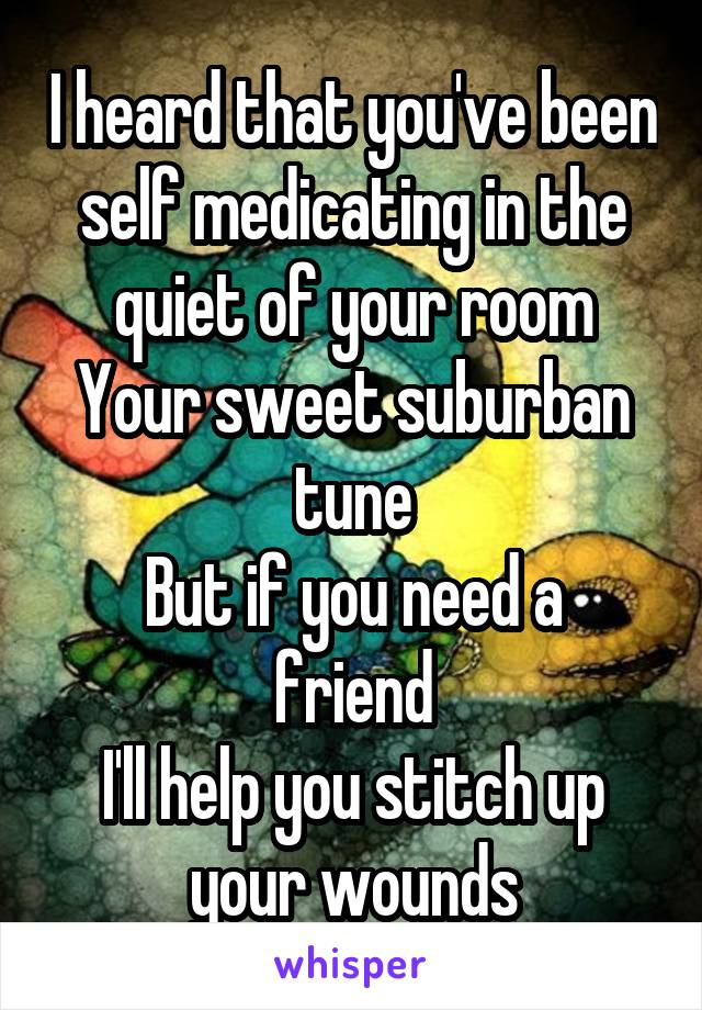 I heard that you've been self medicating in the quiet of your room Your sweet suburban tune But if you need a friend I'll help you stitch up your wounds
