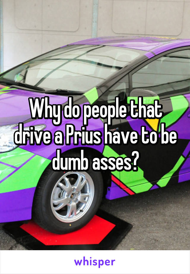 Why do people that drive a Prius have to be dumb asses?