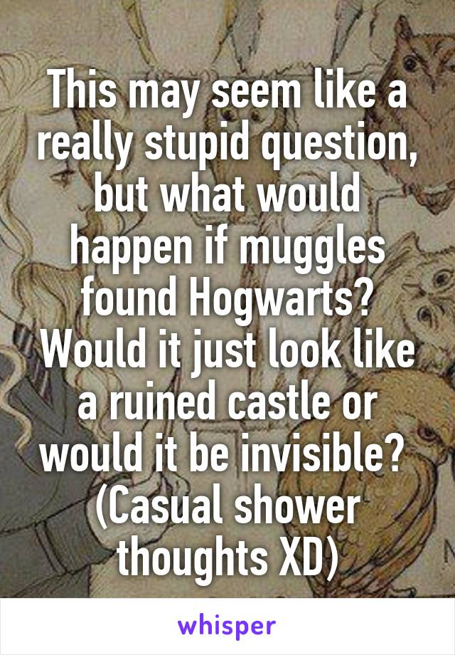This may seem like a really stupid question, but what would happen if muggles found Hogwarts? Would it just look like a ruined castle or would it be invisible?  (Casual shower thoughts XD)