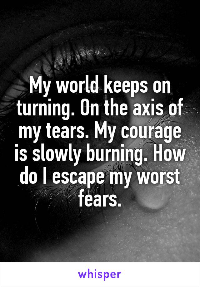 My world keeps on turning. On the axis of my tears. My courage is slowly burning. How do I escape my worst fears.