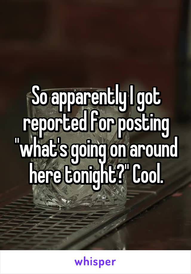"""So apparently I got reported for posting """"what's going on around here tonight?"""" Cool."""
