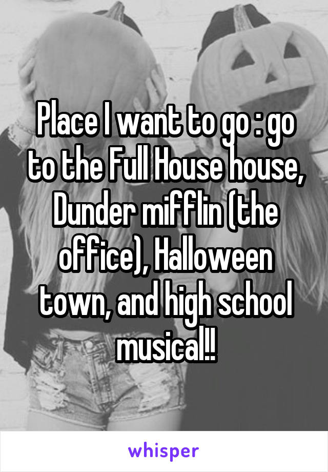 Place I want to go : go to the Full House house, Dunder mifflin (the office), Halloween town, and high school musical!!