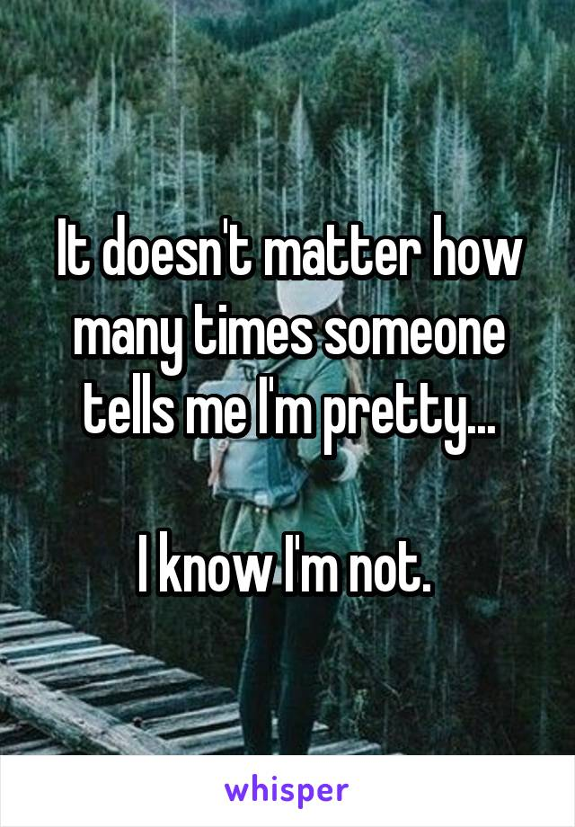It doesn't matter how many times someone tells me I'm pretty...  I know I'm not.