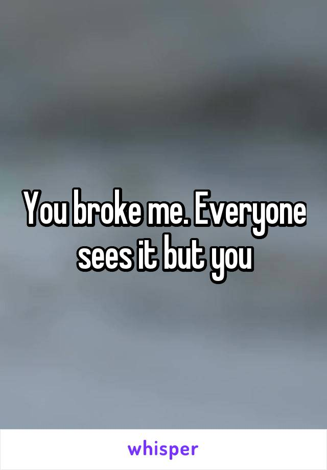 You broke me. Everyone sees it but you