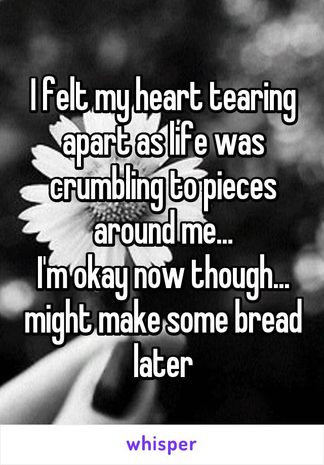 I felt my heart tearing apart as life was crumbling to pieces around me... I'm okay now though... might make some bread later