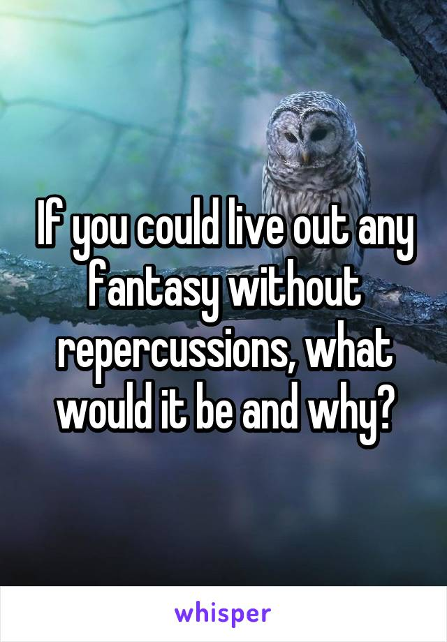 If you could live out any fantasy without repercussions, what would it be and why?