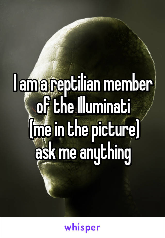 I am a reptilian member of the Illuminati  (me in the picture) ask me anything
