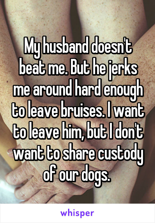 My husband doesn't beat me. But he jerks me around hard enough to leave bruises. I want to leave him, but I don't want to share custody of our dogs.
