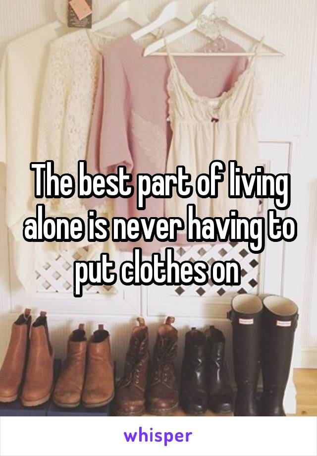 The best part of living alone is never having to put clothes on