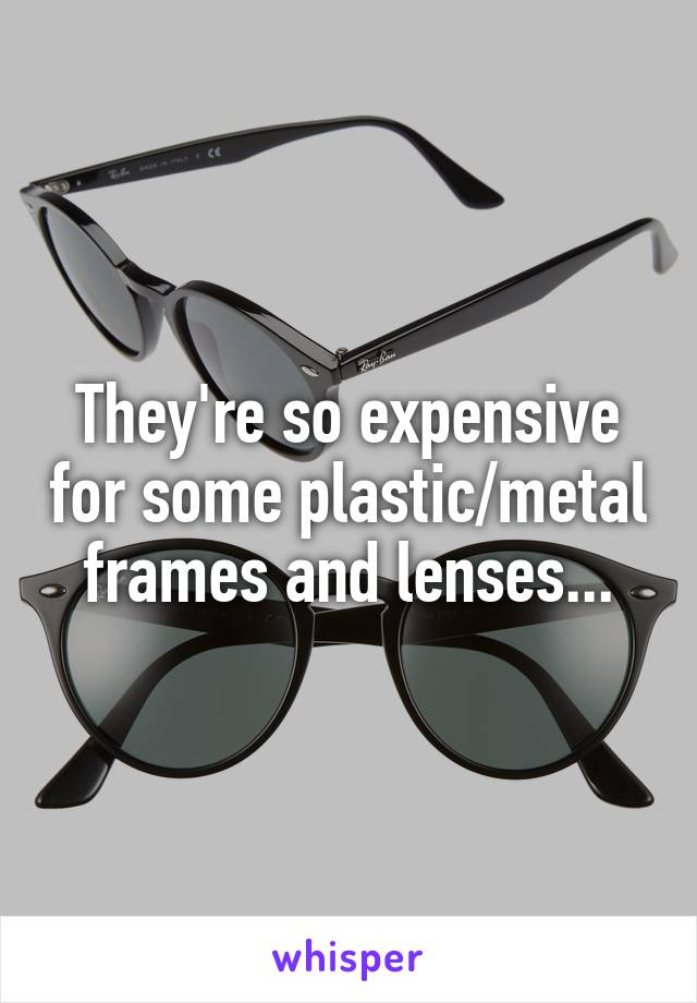 They're so expensive for some plastic/metal frames and lenses...
