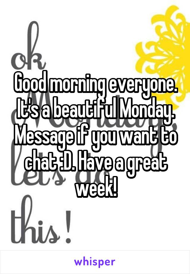 Good morning everyone. It's a beautiful Monday. Message if you want to chat :D. Have a great week!